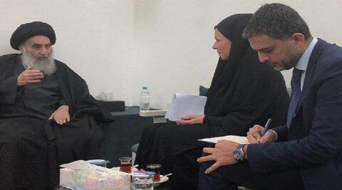 مكتب اية الله السيد السيستاني يصدر بيانا بشأن لقاء المرجع ببلاسخارت
