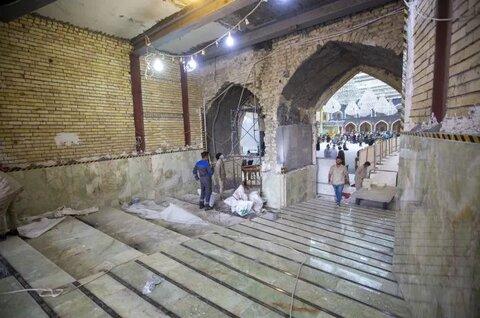 الانتهاء من إكساء أرضيّة بوّابة الإمام الحسن (عليه السلام)